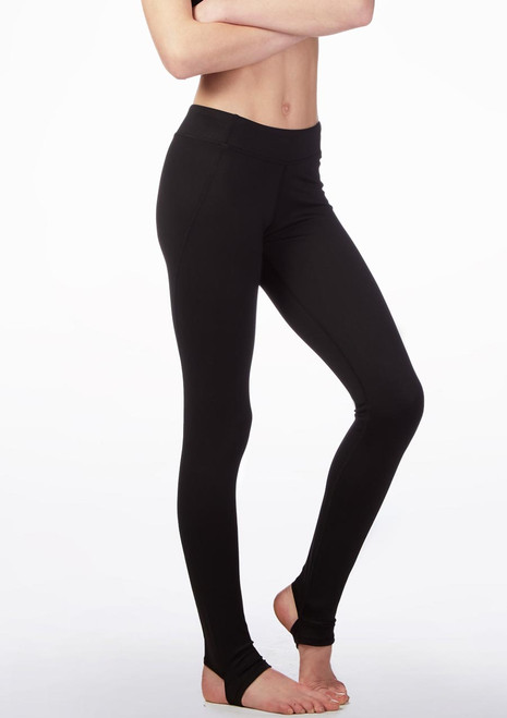 Bloch Teen High Waisted Stirrup Leggings Black front. [Black]