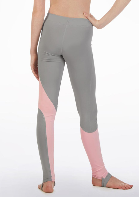 Bloch Teen Two Tone Stirrup Legging* Pink front. [Pink]