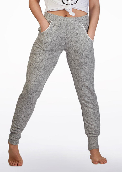 Bloch Satin Trim Sweat Pant* Grey front. [Grey]