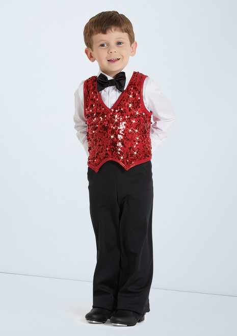 Weissman Boys Ultra Sparkle Vest Red front. [Red]