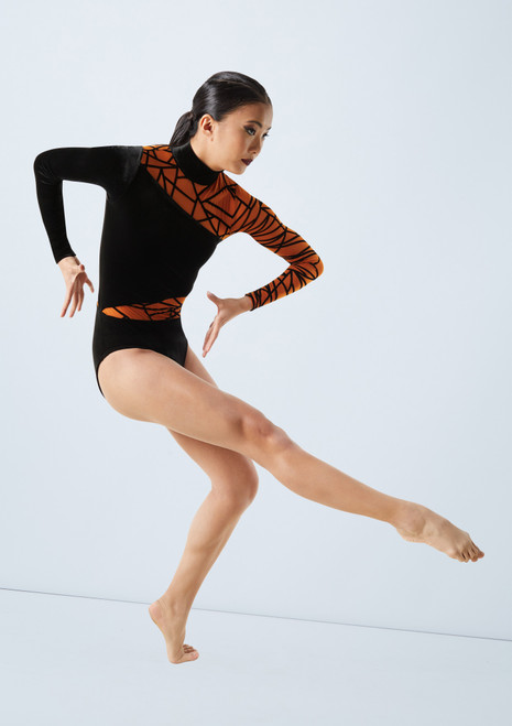Weissman Geo Flocked Velvet Leotard Orange front. [Orange]