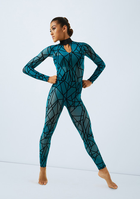 Weissman Flocked Geometric Unitard Blue front. [Green]