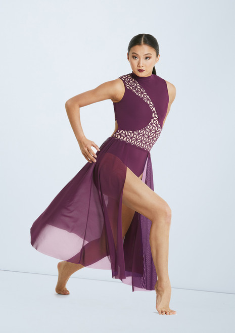 Weissman Laser Cut Dress Purple front. [Purple]