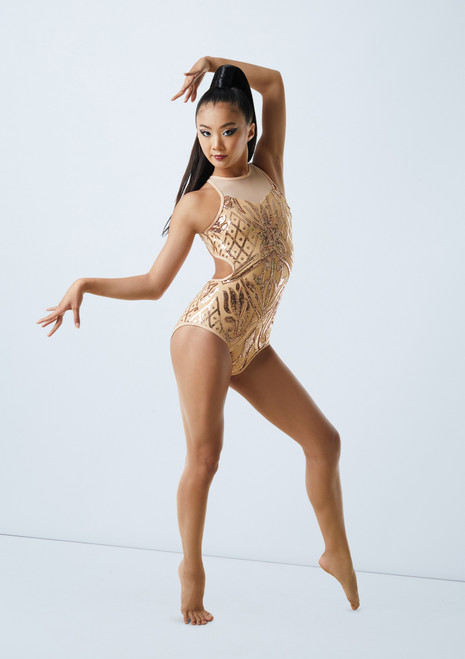 Weissman Open Back Sequin Mesh Leotard Gold front. [Gold]