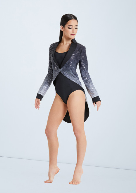 Weissman Ombre Sequin Tailcoat Set Black-White front. [Black-White]