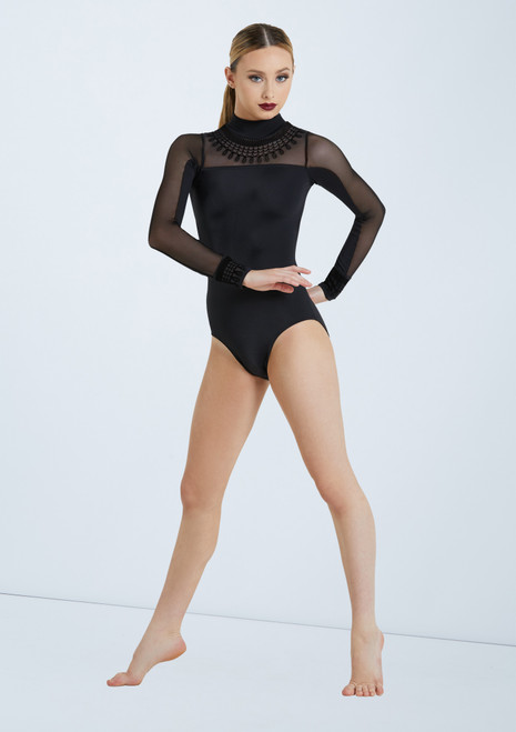 Weissman Flocked Mock Neck Leotard Black front. [Black]