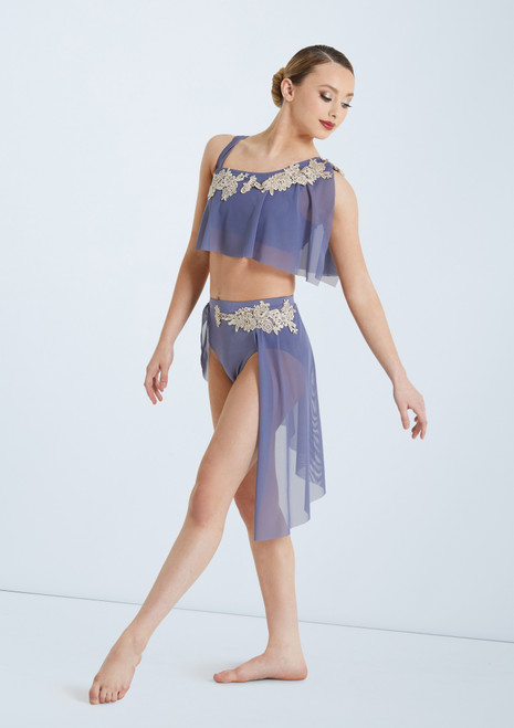 Weissman Asymmetrical Bra Top and Skirt Blue front. [Blue]