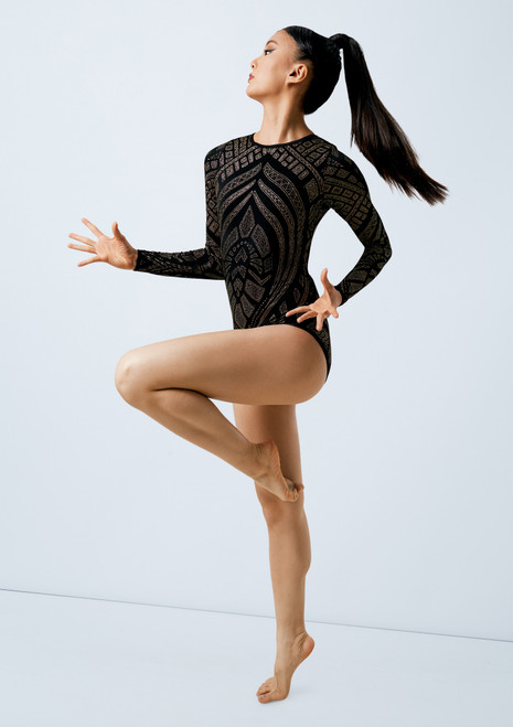 Weissman Long Sleeve Glitter Leotard Gold front. [Gold]