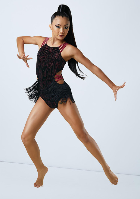 Weissman Velvet Leotard With Fringe Red front. [Red]