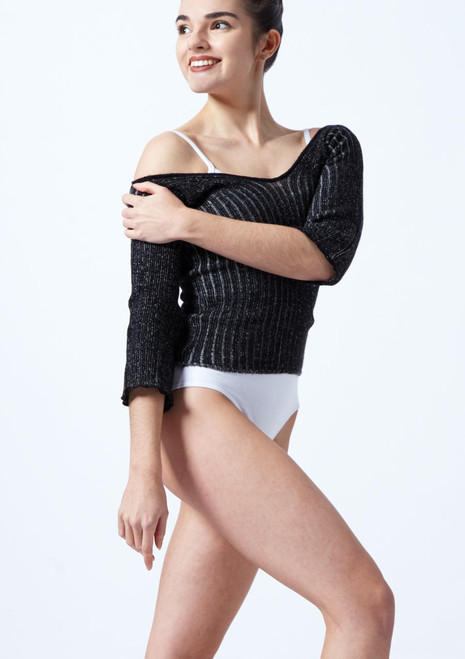 Intermezzo Knitted Warm Up Sweater Black-Grey front. [Black-Grey]