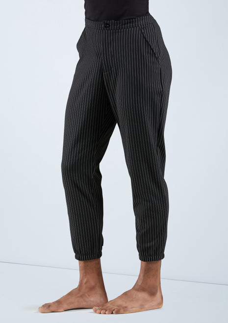 Boys Cropped Pinstripe Pants [Black]T