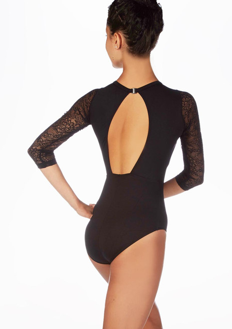 So Danca 3/4 Lace Sleeve Cut Out Leotard Black. [Black]
