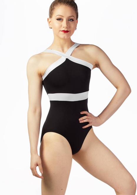 So Danca Contrast Trim Leotard Black-White front. [Black-White]