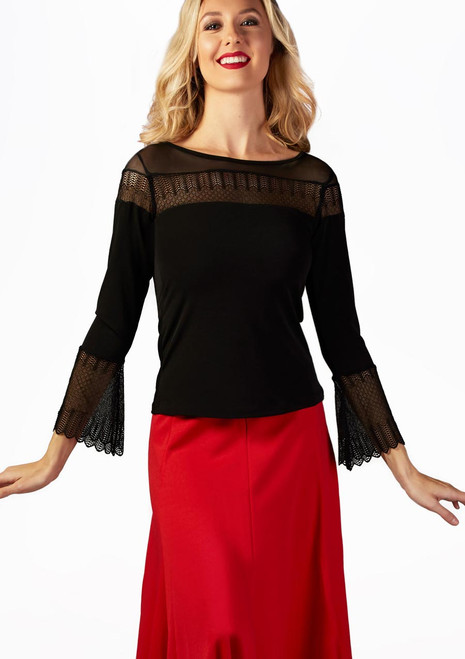 So Danca Bell Sleeve Lace Ballroom Top Black front. [Black]