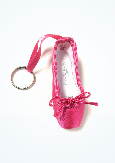 So Danca Mini Pointe Shoe Keyring Pink side. [Pink]