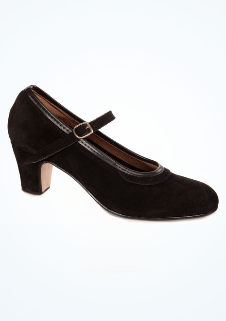Intermezzo Nubuck Buckle Flamenco Shoe Black. [Black]