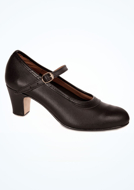 Intermezzo Leather Buckle Flamenco Shoe Black. [Black]