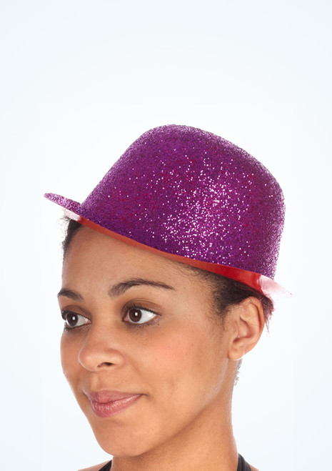 Glitter Bowler Hat Pink. [Pink]