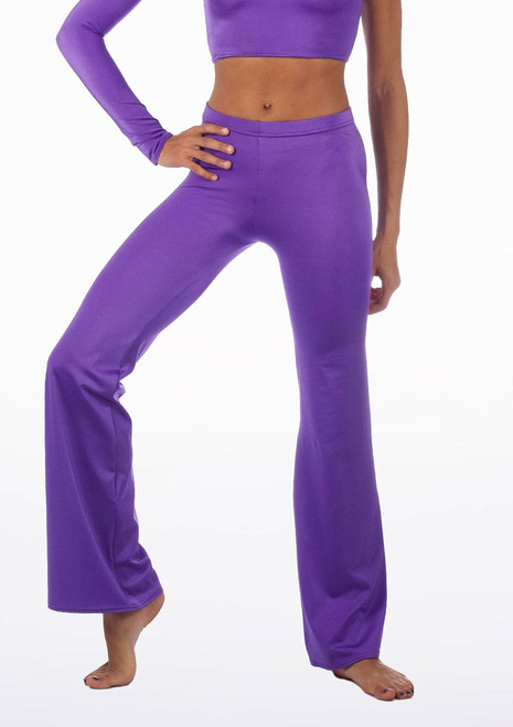 Alegra Shiny Jazz Pant Purple front. [Purple]
