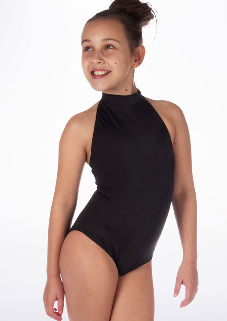 Alegra Girls Shiny Nola Leotard Blue front. [Blue]