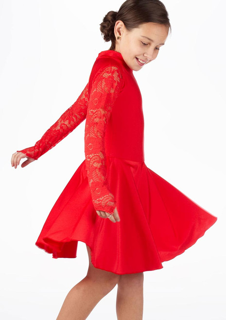 Move Girl's Kristin Latin Dress Red. [Red]