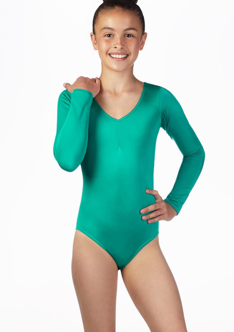 Alegra Girls Shiny Josie Leotard Pink front. [Pink]