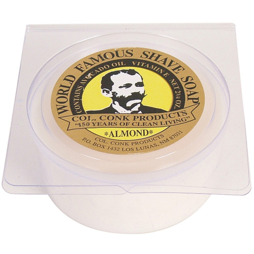 """2.25 oz. round soap puck in a plastic clam-shell. Outer diameter: 2.5"""" Made in the USA #112"""