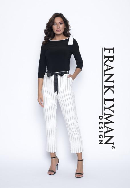 Frank Lyman cream/black stripe trousers (186469)