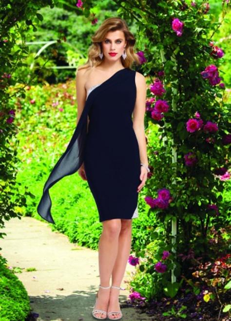 Lyman Short Midnight One Shoulder Front-Cape Glitter Dress (78014)
