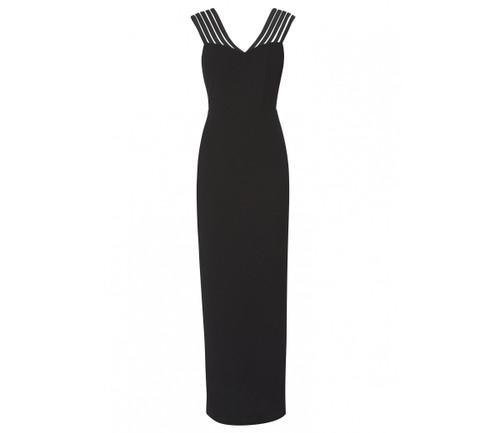 Gina Bacconi Long black multi strap evening dress (SPP8022)