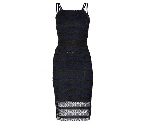 Gina Bacconi navy and black cocktail dress (SPP8229)