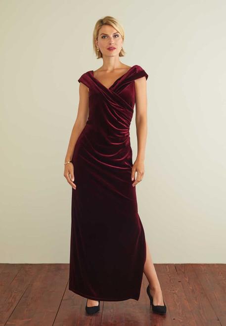 gina bacconi velvet long dress (srr3210)