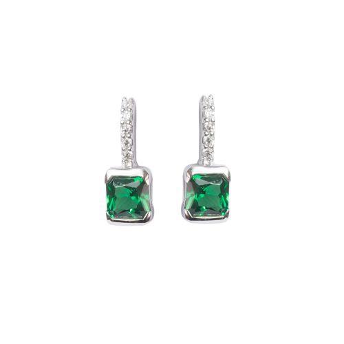 Espree silver green drop earrings (5778)