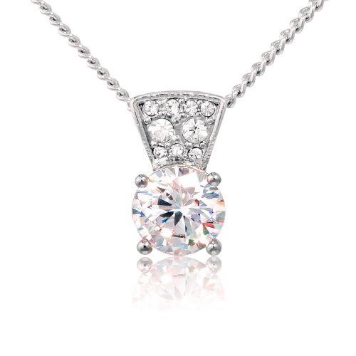 Espree rhodium and crystal pendant (7007)
