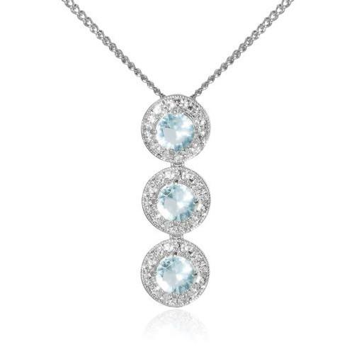 Espree rhodium and crystal blue stone pendant (7043)