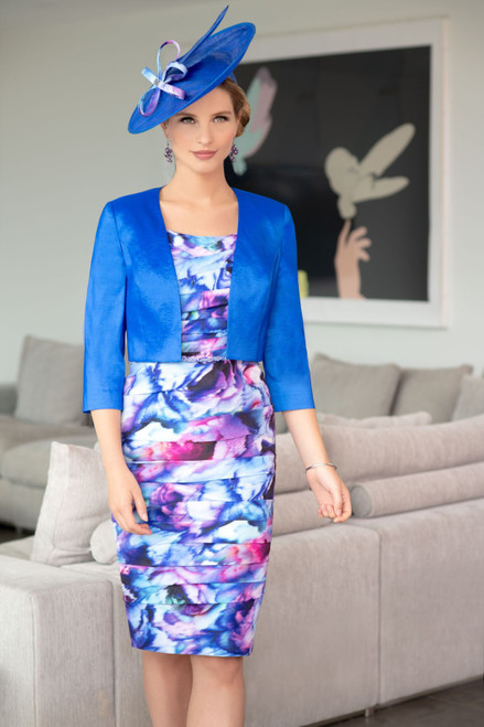 Ispirato multi coloured ruched dress with cobalt jacket (ISE945)