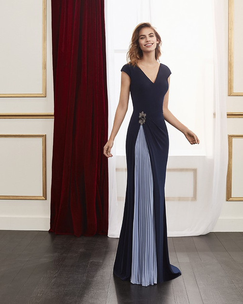 Marfil evening gown with powder blue pleat detail (4J139CRPOP919)