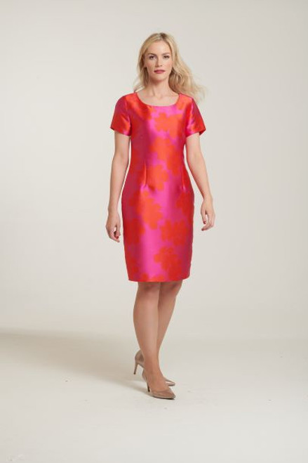 Libra Pink and orange shift Dress with Wrap (LD1128)