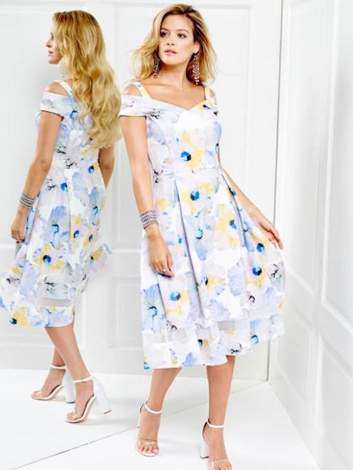Tia cold shoulder flower print dress 78387 7443