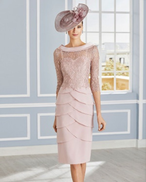 Marfil couture lace top dress with tiered skirt 4G182