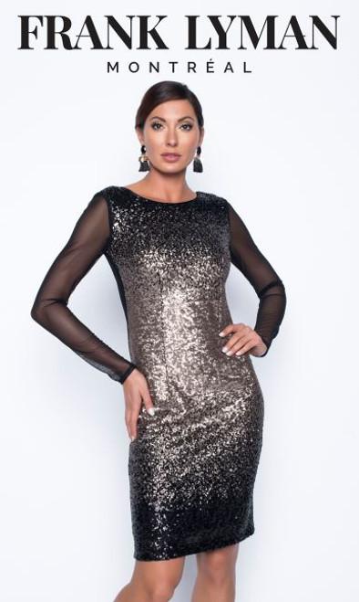 Frank Lyman black/gold sequin dress (199264)