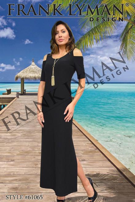 Frank Lyman cold shoulder black Maxi Dress (61065)