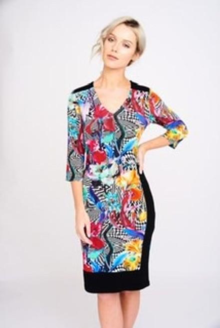 Arianna long sleeve black and multi dress (AD2450)