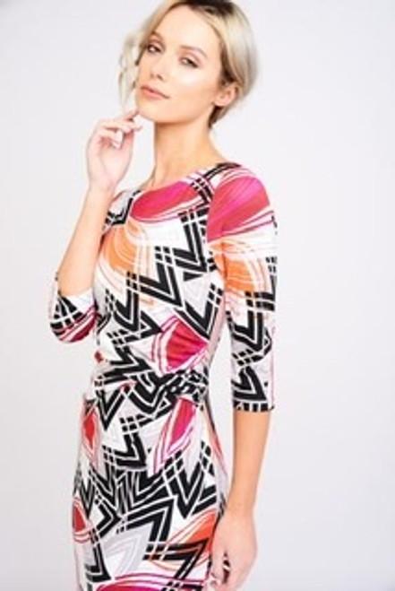 Arianna pink/grey/orange day dress (AD2479)