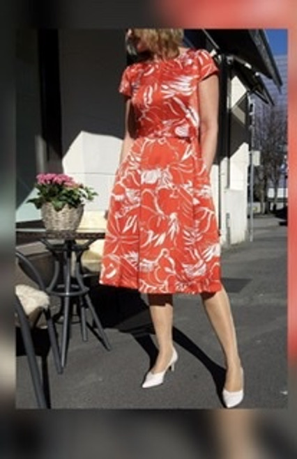 Tia red and white patterned dress 78360 7418