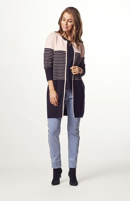 Micha pink and navy long cardigan (133289)