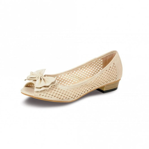 Womens Punched Detail Peep Toe Court Shoes (FLC270)