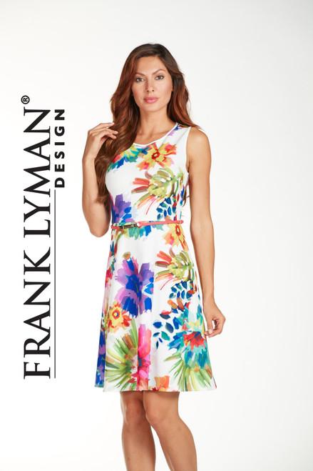 Frank Lyman white & mutli fit and flare dress (171313)
