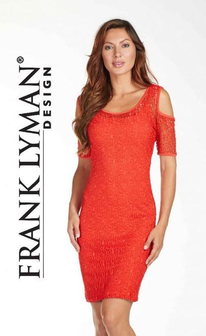 Frank Lyman orange lace cold shoulder dress (171272)