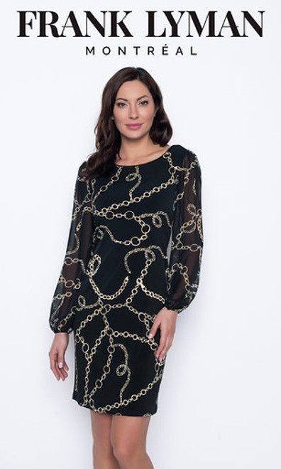 Chain Print Dress With Sheer Sleeves (203353)